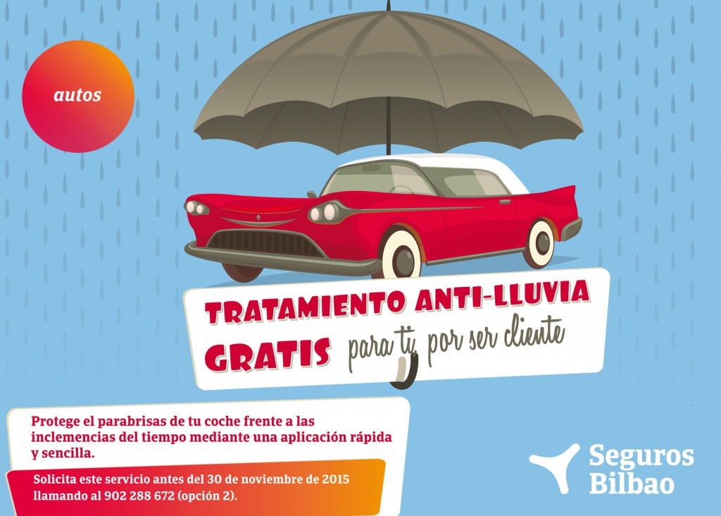 Seguros Bilbao y su promoción de tratamiento antilluvia para tu coche.